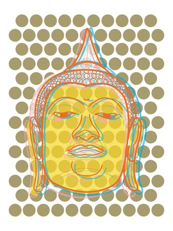 buddha head pop dots (vector) - illustration Vector