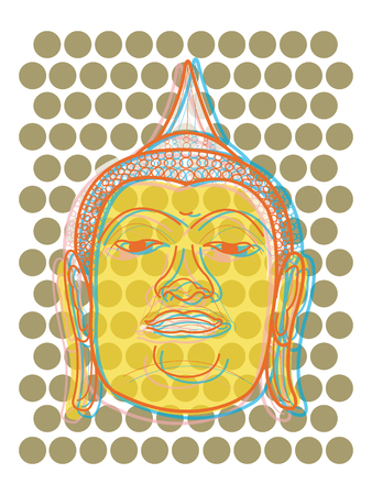 serene: buddha head pop dots (vector) - illustration