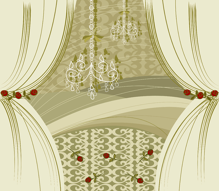 intricate: ENCORE! gold curtains (vector) -illustrated interior Illustration