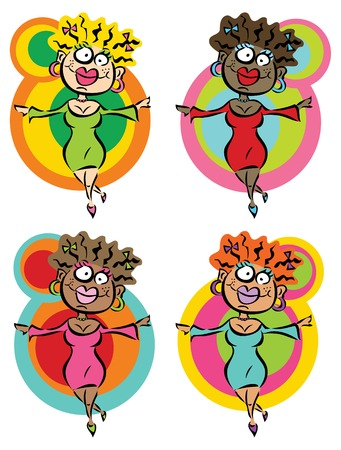 multi racial: 4 funny dancing ladies (vector) - cartoon illustration