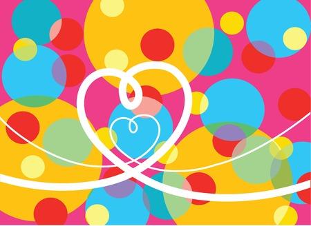 retro pop dots and loopy hearts (vector) - illustration Stock Vector - 1399259