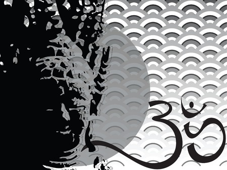 buddha, scallop and ohm (vector) - illustrated background Vector