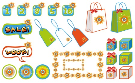 sunny shopping icons, tags, logos and objects (vector) - illustration
