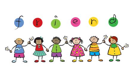 Nous sommes AMIS! (Vecteur) - cartoon illustration de la multi raciale des enfants se tenant par la main  Illustration