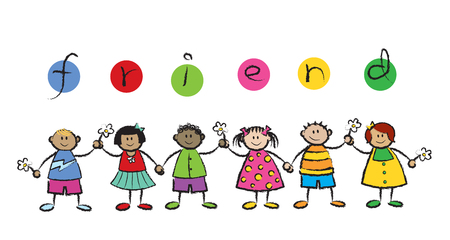 multi racial: We are FRIENDS! (vector) - cartoon illustration of multi racial kids holding hands Illustration