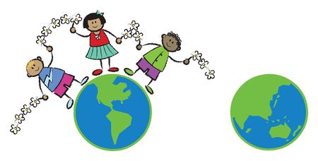 racial: friends around the world (vector) - cartoon illustration (part 1 of 2) Illustration