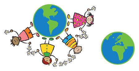 erde gelb: Freunden auf der ganzen Welt (Vektor-) - Comic-Illustration (Teil 2 von 2) Illustration