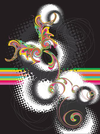 psychedelic rainbow grunge butterfly on black (vector) - illustrated background Vector
