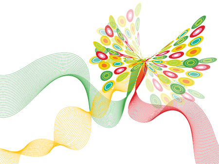 web2: retro pop red, green and yellow butterfly twist on white (vector) - illustration