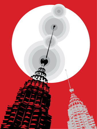 petronas: petronas towers pop art on red (vector) - illustration Editorial