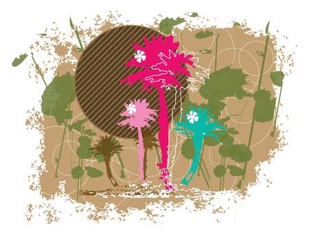 graffiti brown: retro tropical grunge palma de la mano de color (vector) - ilustraci�n