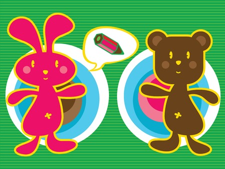 pink bunny and brown teddy (vector) - illustrated cartoon character icon Vector