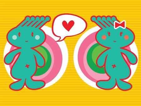 spunky head boy loves girl (vector) - illustrated cartoon character icon Vector