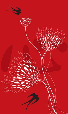 lace flowers, swallows on red (vector) - illustration  chinese word xing means heart in english Vector