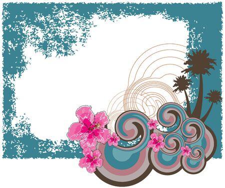 hawaiian: retro hawaiian hibiscus frame (vector) - illustrated background frame