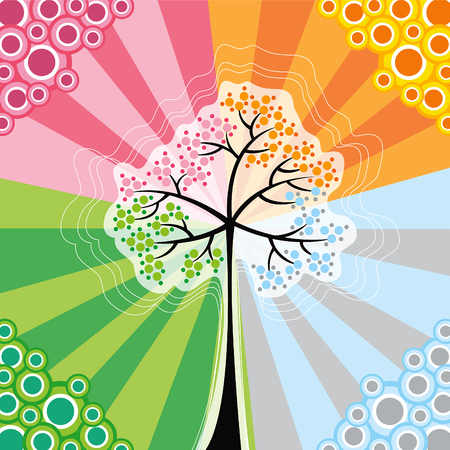 4 seasons magic tree (vector) - conceptual illustration Vector