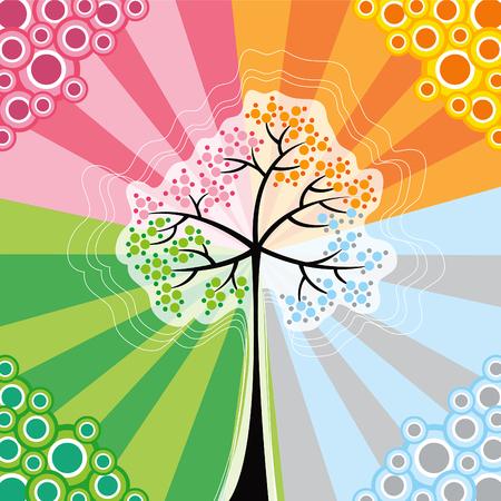 4 seasons magic tree (vector) - conceptual illustration