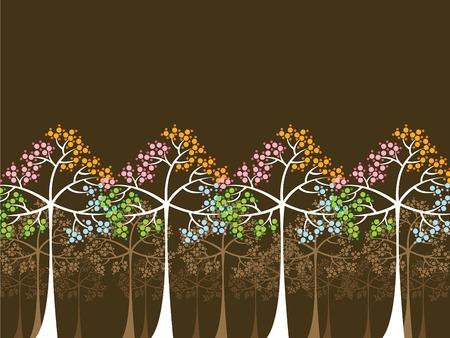 4 saisons d'arbres sur le brun (vecteur) - illustr� de fond Illustration