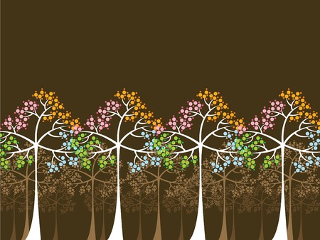 4 seasons trees on brown (vector) - illustrated background