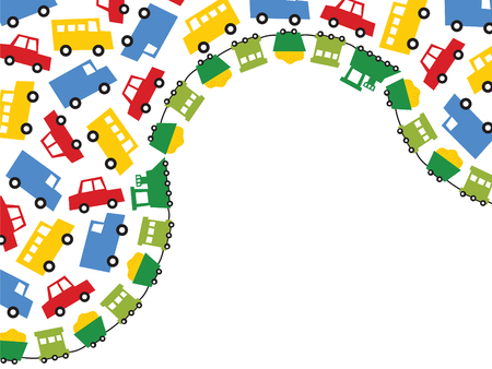 boys toys in primary colors - illustrated background with lots of copy space Vector