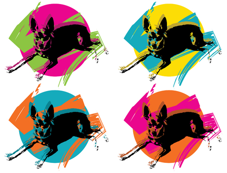 PINKY pop art - illustration of a min pin for animal lovers (in memory of my beloved dog)