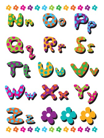 polka dots fun alphabets N to Z - illustration for kids  part 2 of a full set Vector