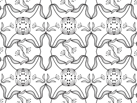 oriental flower: oriental flower design black on white - illustrated background pattern Illustration
