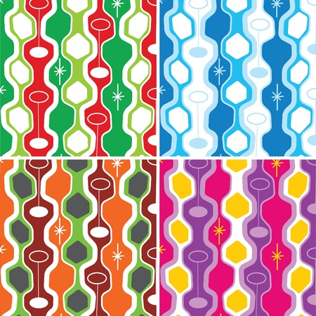 retro pods 4 color vibrant and xmas combo - illustrated background pattern