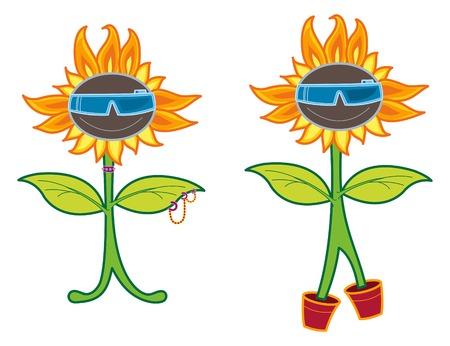 punk rock cool sunflower - cartoon illustration Stock Vector - 1415321