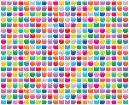rainbow mosaic buttons on white (vector) - illustrated background Illustration