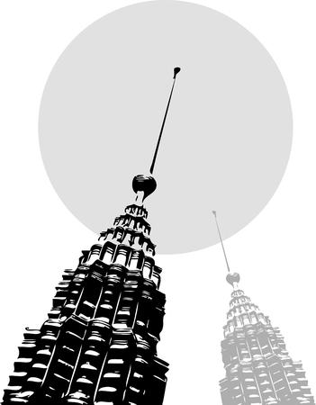 petronas: torres Petronas pop art negro sobre gris - ilustraci�n