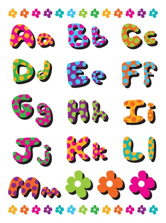 for kids: polka dots fun alphabets A to M - illustration for kids  part 1 of a full set