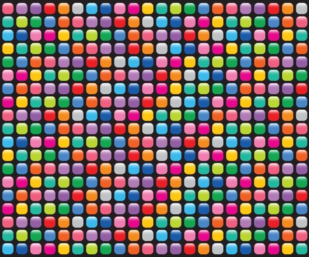 pixel art: party glossy mosaic buttons on black - illustrated seamless tiled background