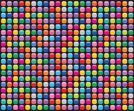 vibrant colors fun: pulsanti di mosaico lucido nero - illustrato sfondo affiancata senza saldatura di terze parti Vettoriali