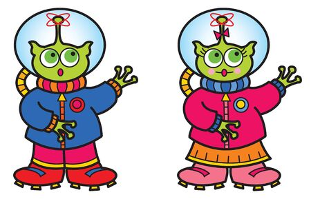 alien boy and girl - cartoon illustration Stock Vector - 1423500