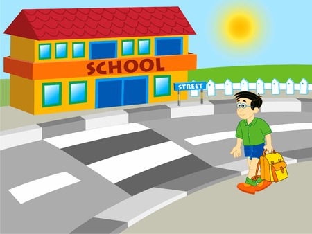 sun road: boy going to school - cartoon illustration