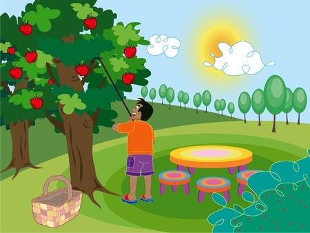 orchard: boy and apple tree - cartoon illustration