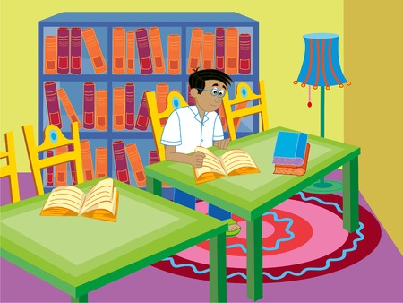reading room: boy reading - cartoon illustration Illustration