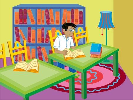 vector lamp: boy reading - cartoon illustration Illustration