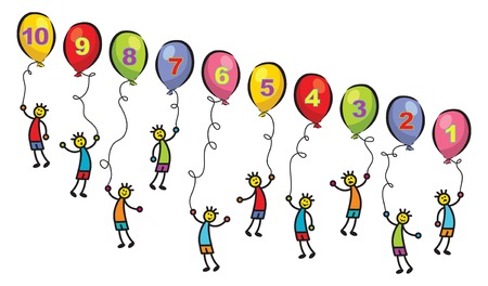 floating boys and balloons with numbers - cartoon illustration