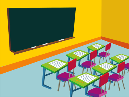 classrooms: classroom with empty blackboard - illustration