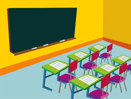 salle de classe: salle de classe avec tableau noir vide - illustration