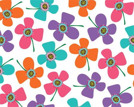 rainbow daisies (vector) - illustrated background Illustration