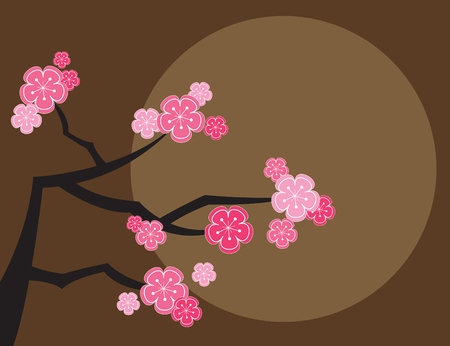 pink cherry blossoms and moon on brown (vector) - illustrated background Vector