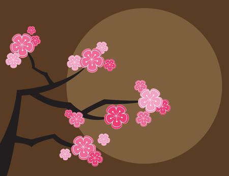 sonne mond: rosa Kirschbl�ten und Mond auf braun (Vektor) - Die Story Hintergrund