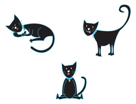 3 black cats (vector) - cartoon illustration Vector