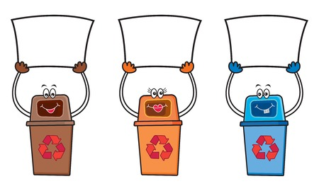 message vector: 3 recycle bins holding blank signs for your own message (vector) - cartoon illustration