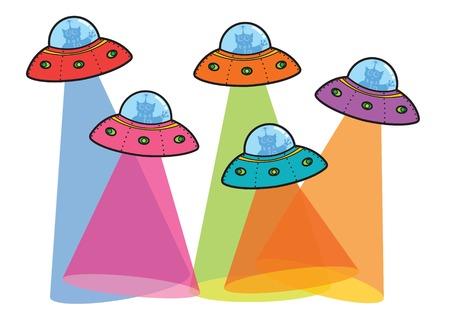 flying disc: 5 UFOs with spotlight (vector) - cartoon illustration