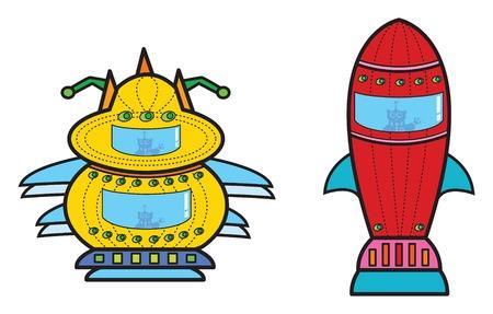 2 space ships (vector) - cartoon illustration Stock Vector - 1446828
