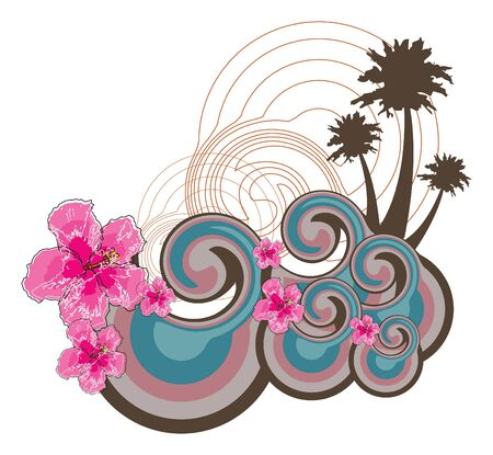 retro waves and pink hibiscus (vector) - illustrated background Vector